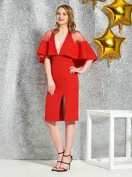 Ericdress Sheath Short Sleeves Red Cocktail Dress