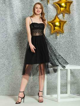 Ericdress Spaghetti Straps Lace Black Homecoming Dress 2019