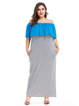 Ericdress Off Shoulder Patchwork Plus Size Going Out Color Block Dress
