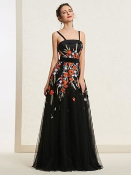 Ericdress Spaghetti Straps Embroidery Black Prom Dress
