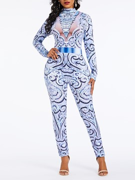 Ericdress Sexy Color Block Print Pencil Pants Slim Jumpsuit