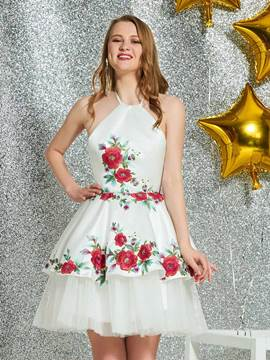 Ericdress Halter A-Line Short White Homecoming Dress 2019