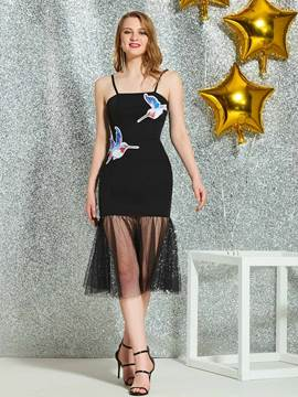 Ericdress Spaghetti Straps Sheath Homecoming Dress 2019