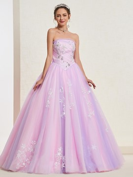 Ericdress Pick-Ups Strapless Ball Gown Quinceanera Dress 2019