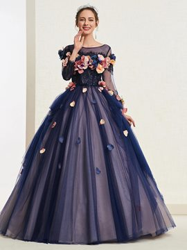 Ericdress 3D Flowers Ball Gown Quinceanera Dress