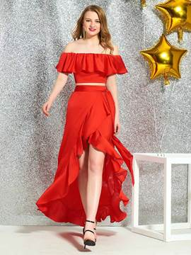 Ericdress Asymmetry Off-The-Shoulder Red Cocktail Dress 2019