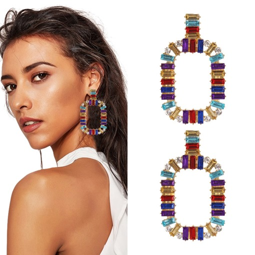 Ericdress Color Block Hoop Earrings