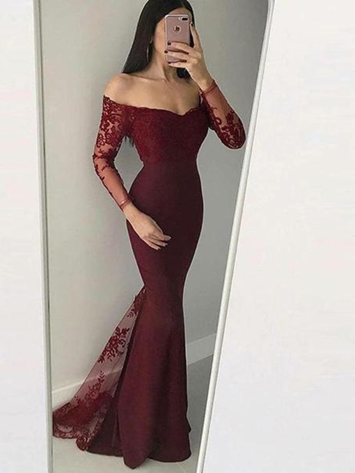 Ericdress Off-The-Shoulder Mermaid Long Sleeves Lace Evening Dress