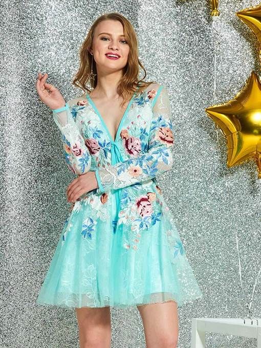Ericdress Long Sleeves V-Neck Lace Cocktail Dress