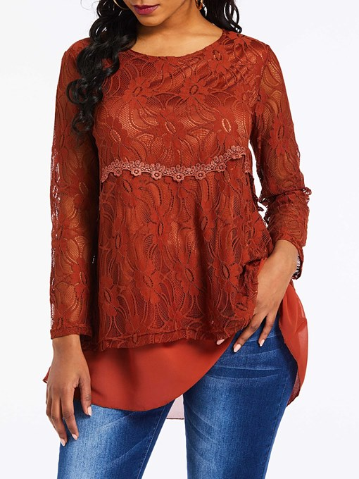 Ericdress Lace Round Neck Regular Long Sleeve Mid-Length Blouse