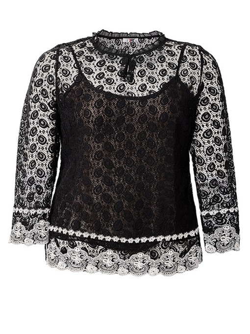 Ericdress See-Through Lace Plus Size Blouse
