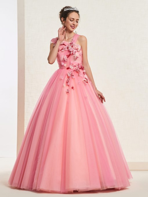 Ericdress One Shoulder Pleats Quinceanera Dress