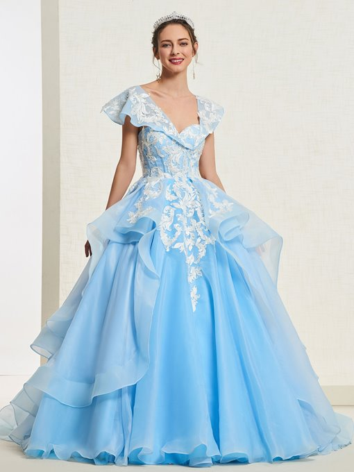 Ericdress Cap Sleeves Appliques Ball Gown Quinceanera Dress