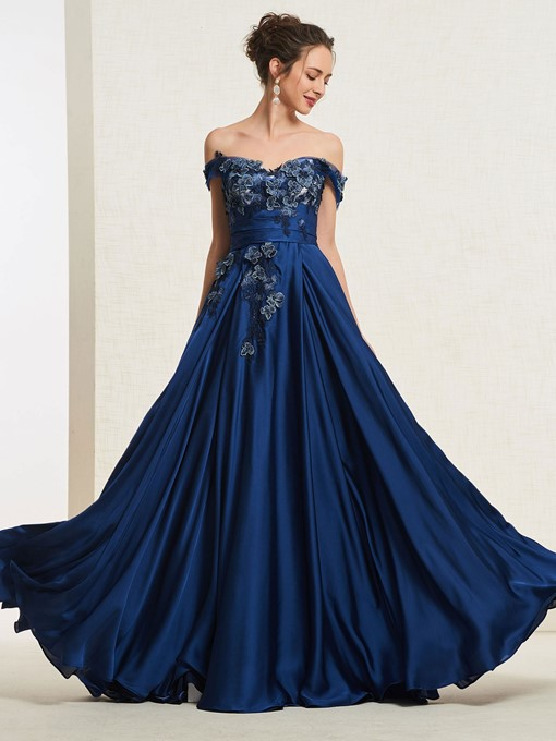 Ericdress A-Line Applique Off-The-Shoulder Prom Dress