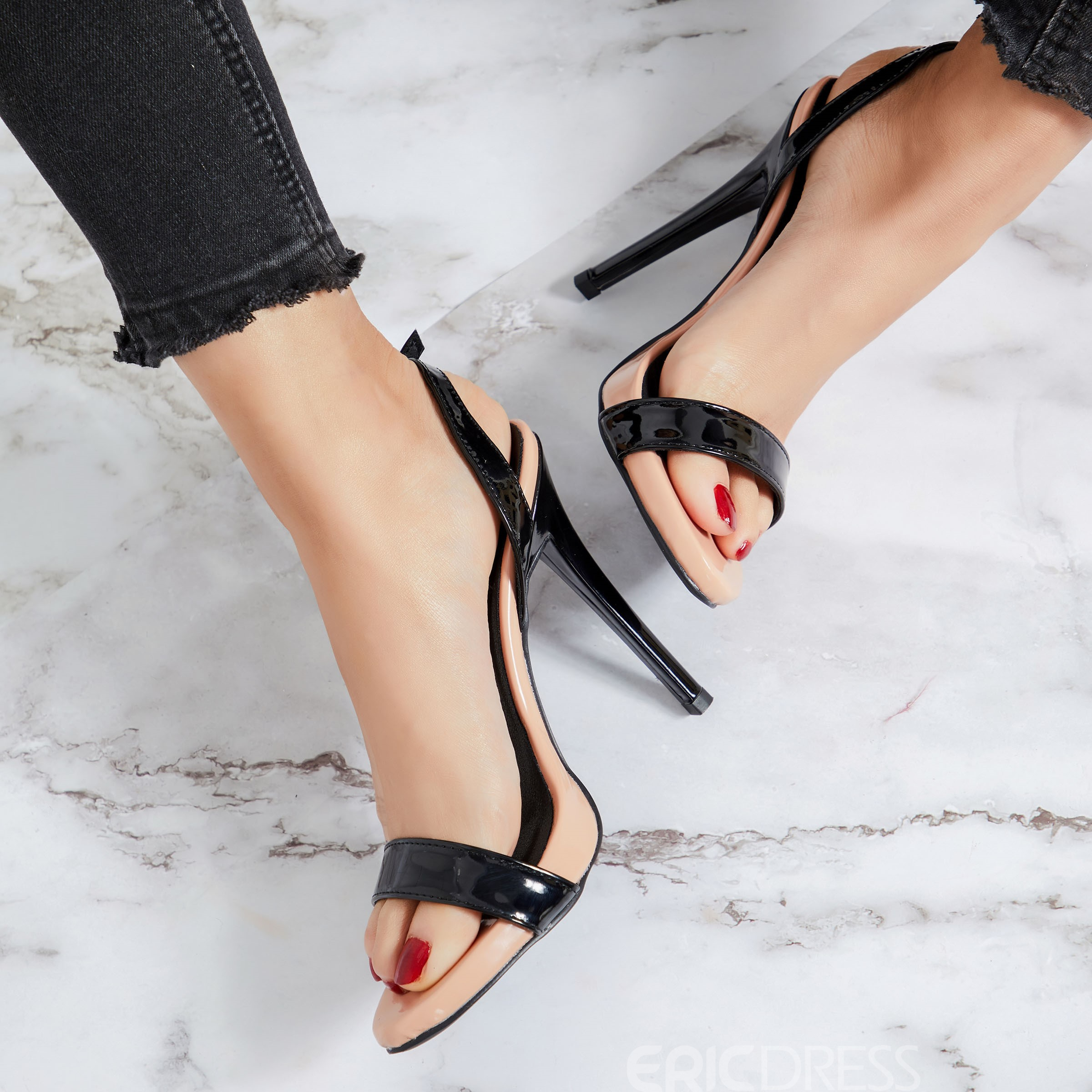 Ericdress PU Slingback Strap Buckle Stiletto Heel Women's Sandals