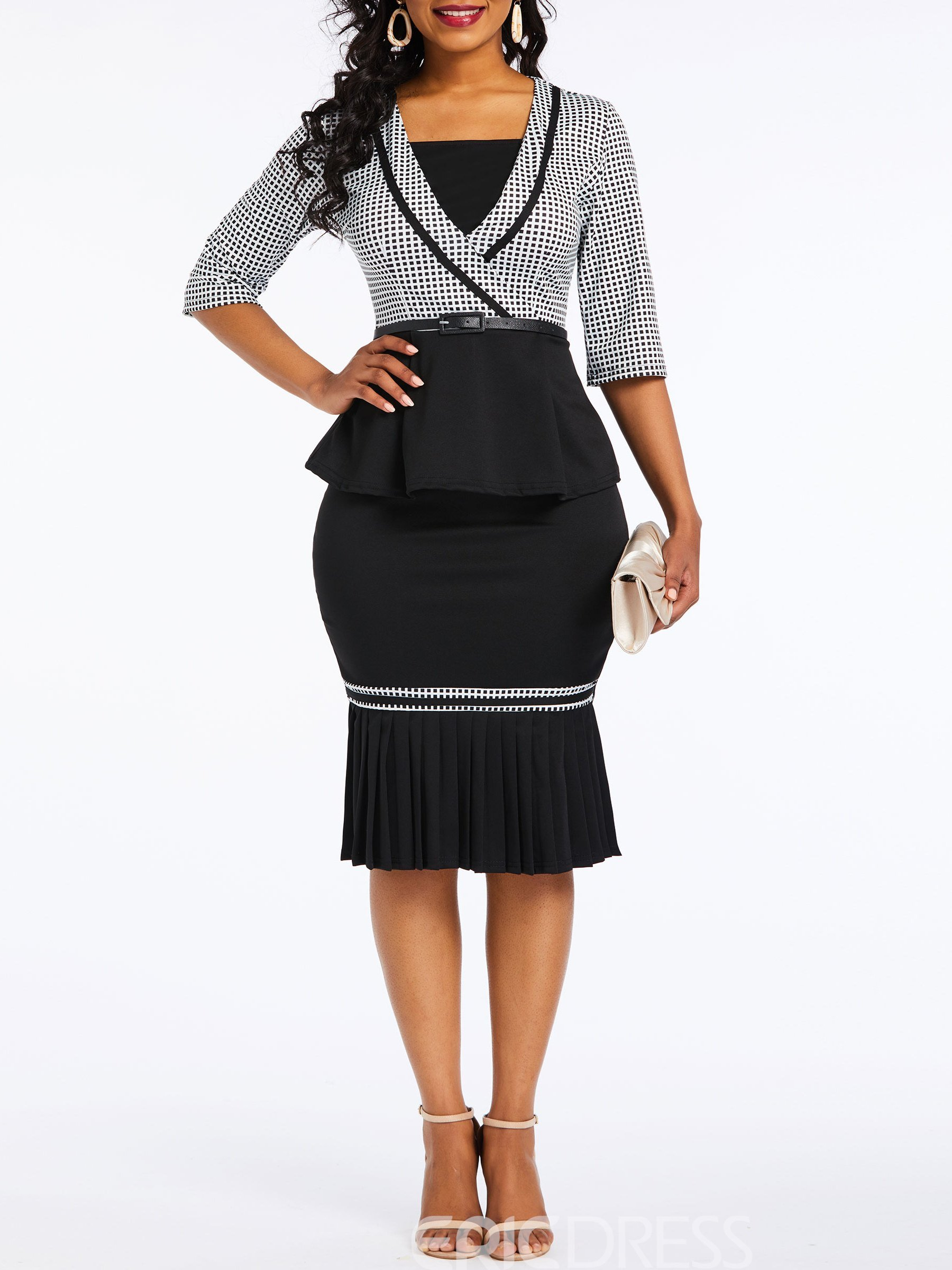 Ericdress Plaid Color Block Ruffles Bodycon Wear to Work Two Piece Set