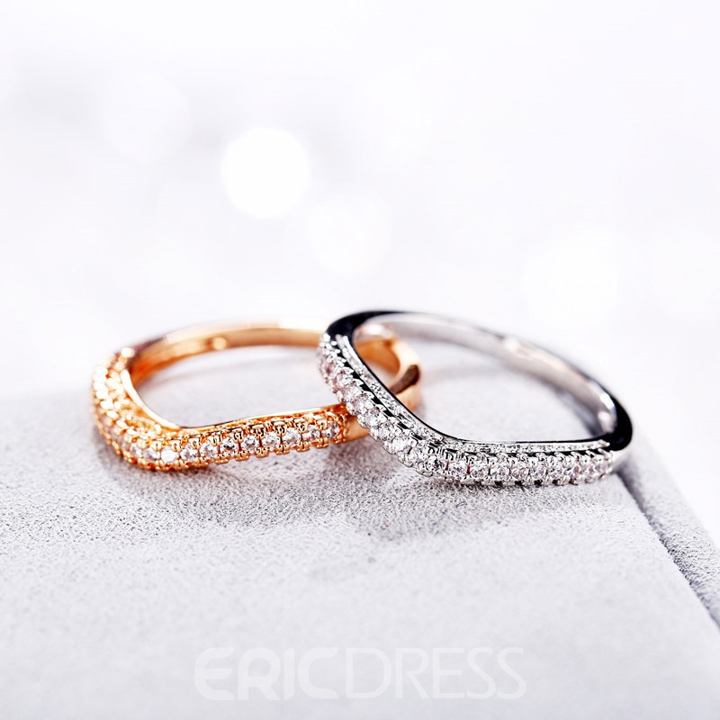 Ericdress Simple Diamante Ring