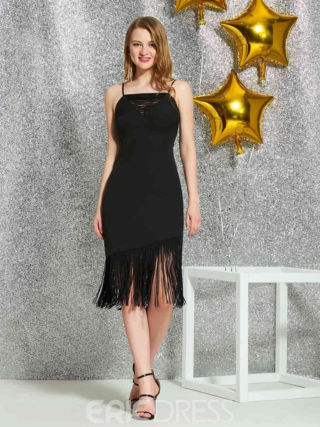Ericdress Knee-Length Tassel Black Cocktail Dress 2019