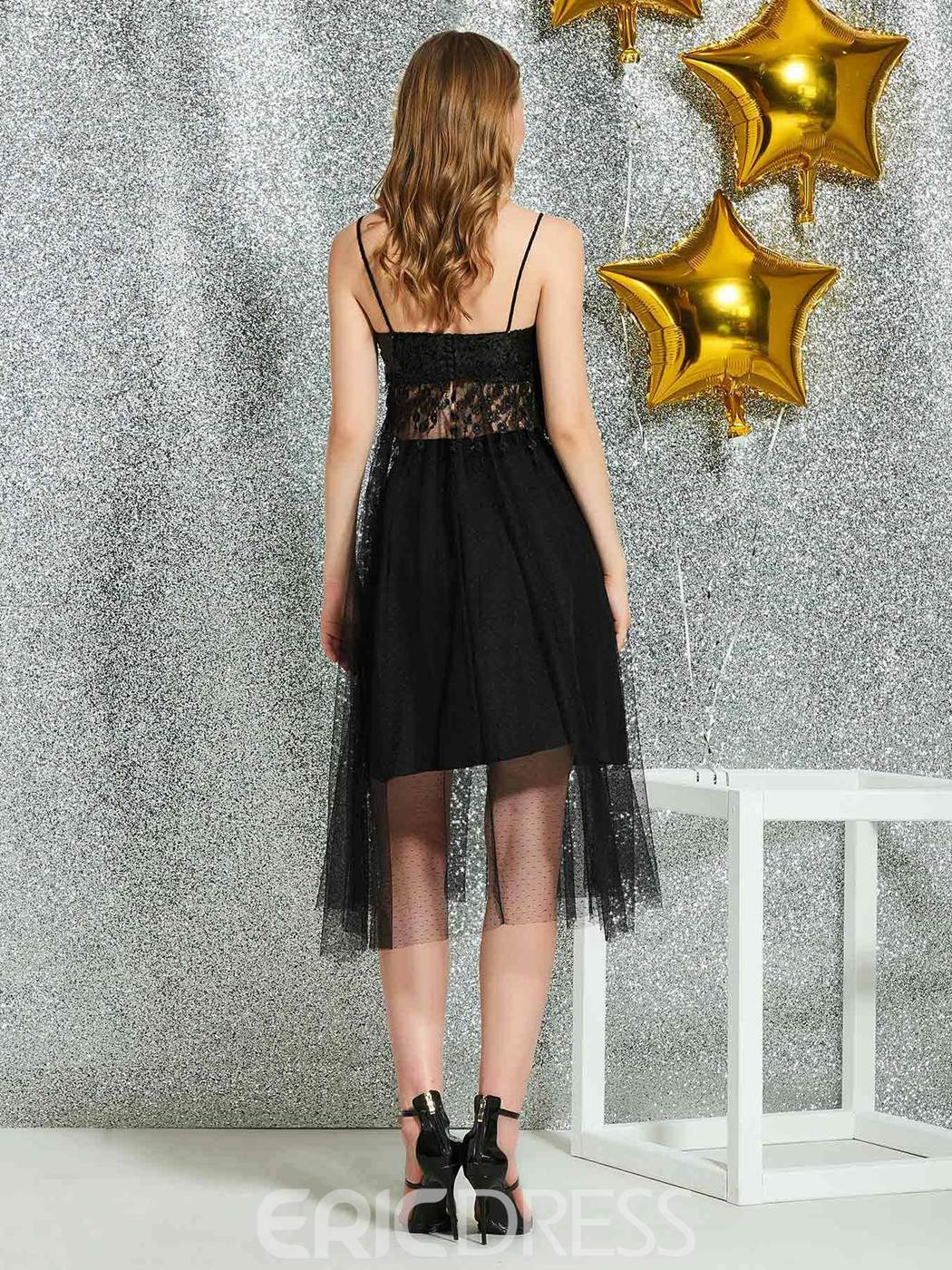 Ericdress Spaghetti Straps Lace Black Homecoming Dress