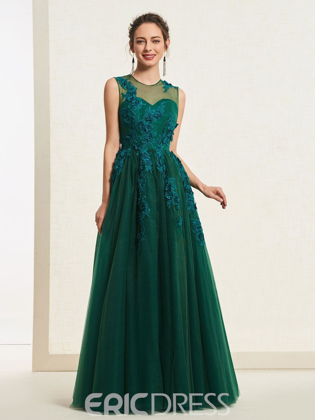 Ericdress A-Line Scoop Appliques Prom Dress 2019