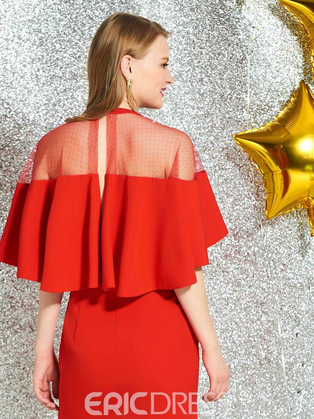 Ericdress Sheath Short Sleeves Red Cocktail Dress 2019