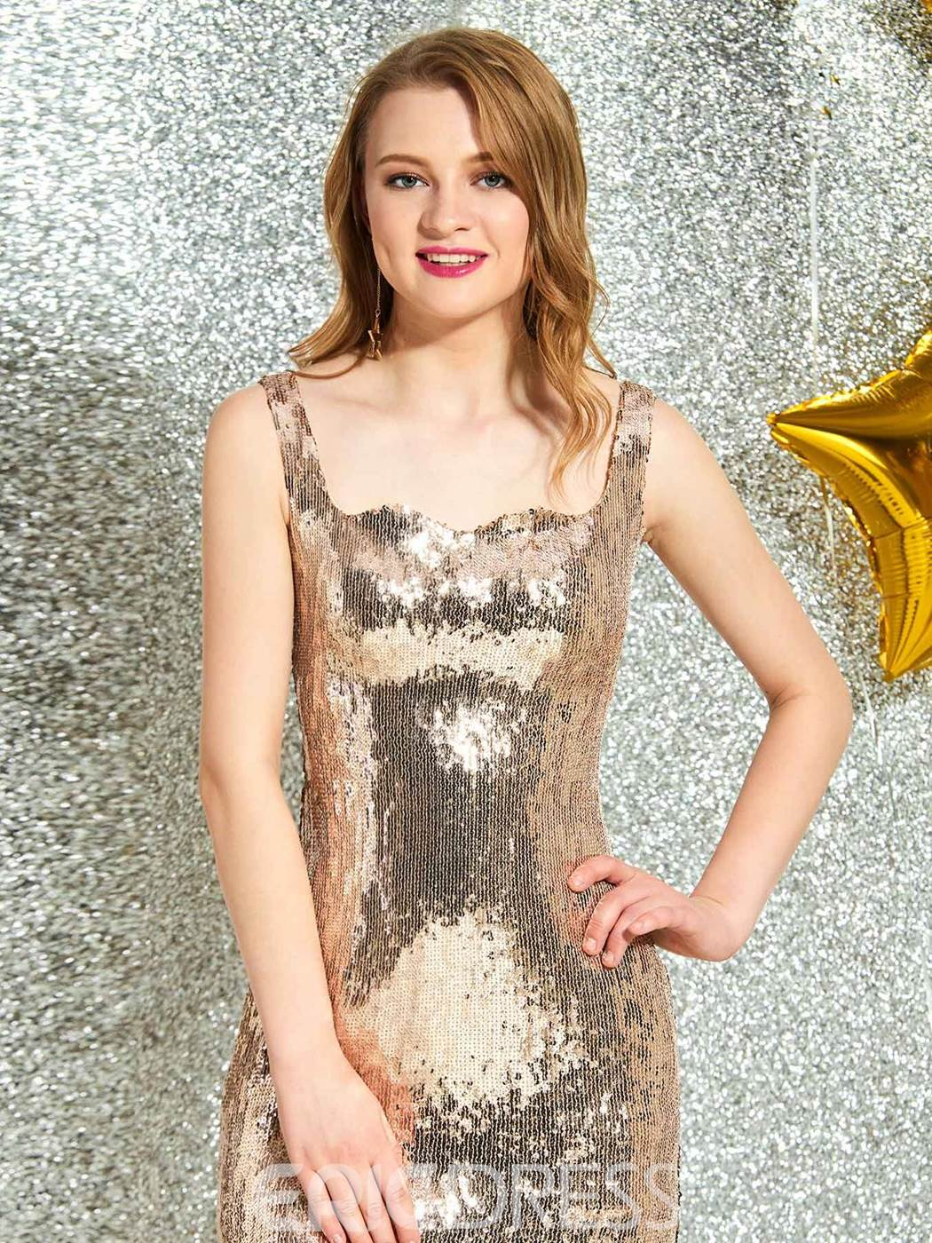 Ericdress Sequins Sheath Knee-Length Cocktail Dress 2019