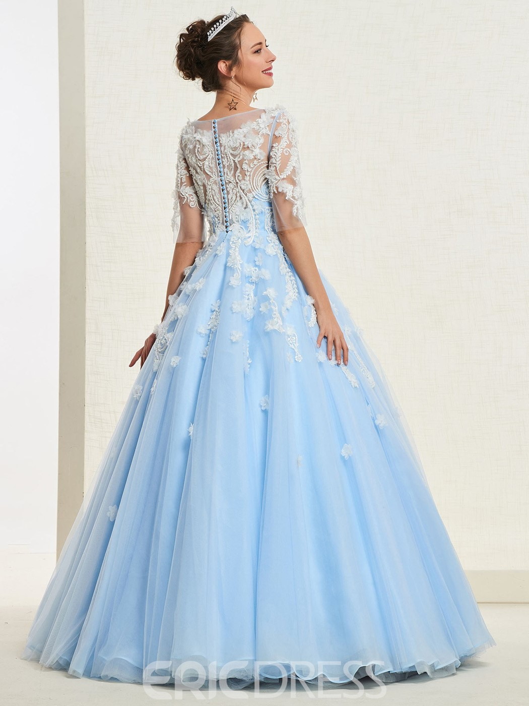 Ericdress Appliques Ball Gown Quinceanera Dress 2019