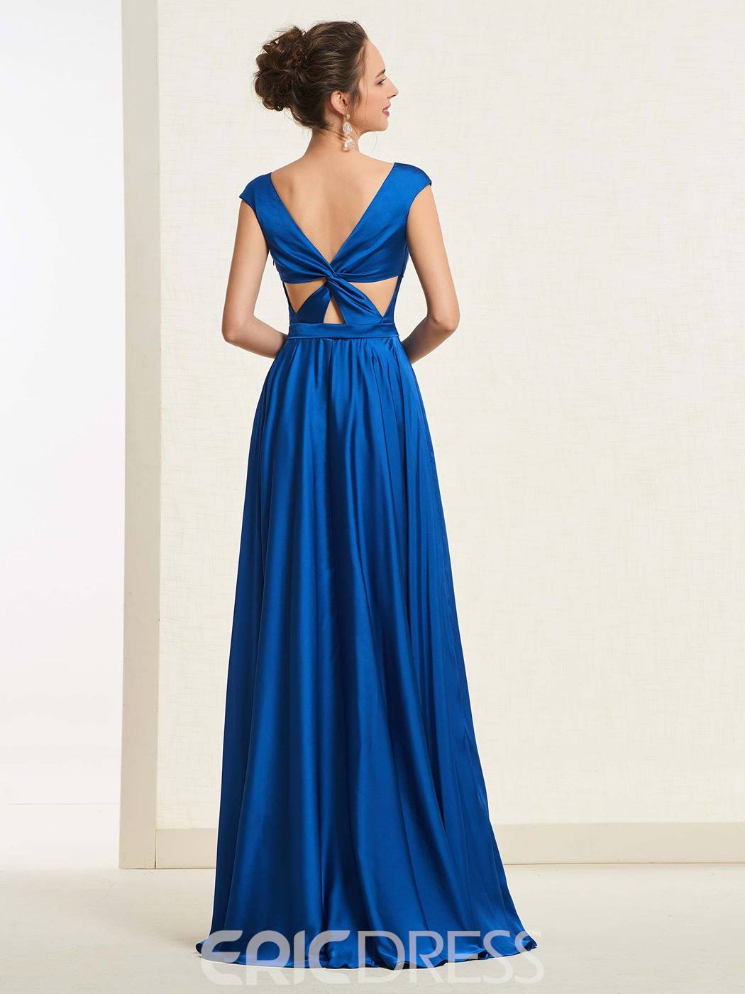Ericdress Cap Sleeves V-Neck A-Line Prom Dress 2019