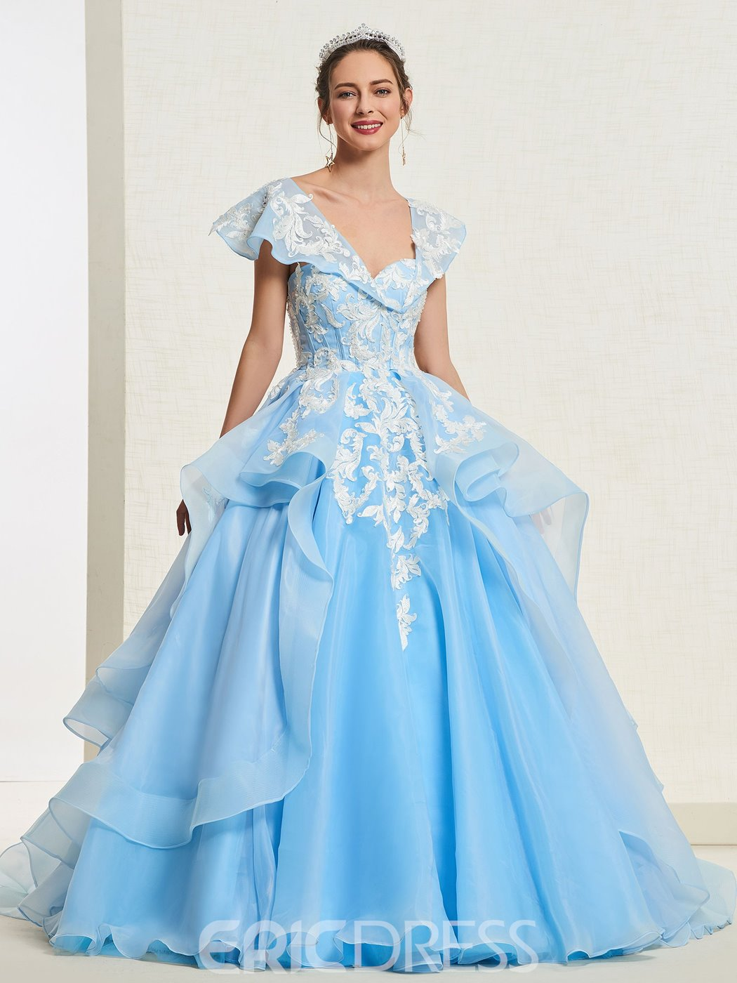 Ericdress Cap Sleeves Appliques Ball Gown Quinceanera Dress 2019