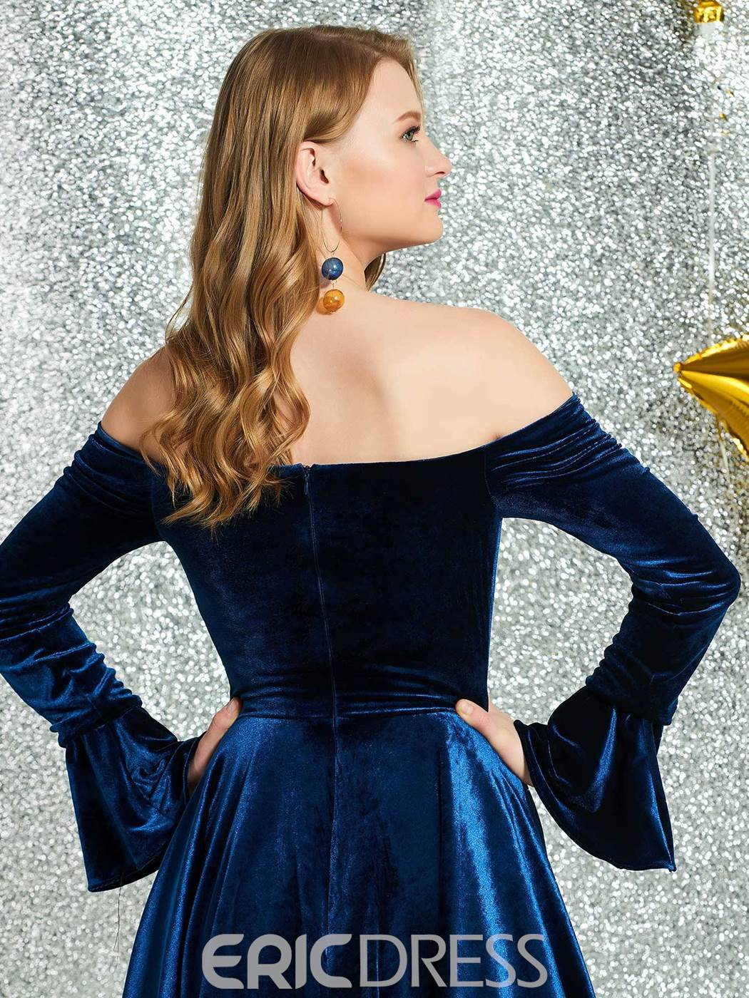 Ericdress Off-The-Shoulder Long Sleeves Cocktail Dress 2019