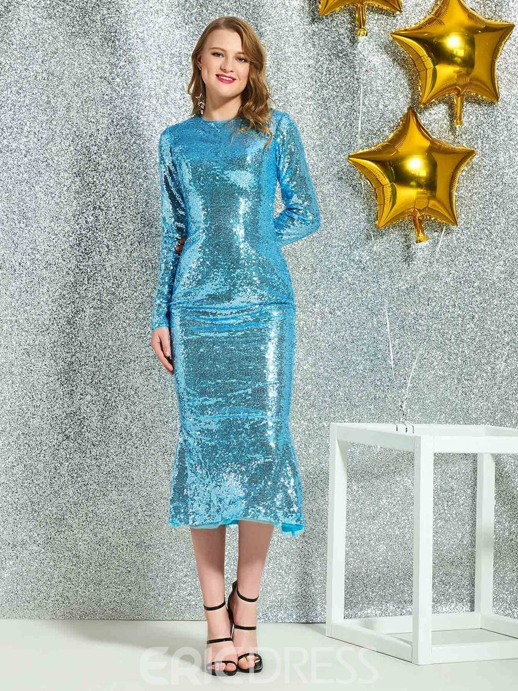 Ericdress Sheath Sequins Tea-Length Cocktail Dress 2019