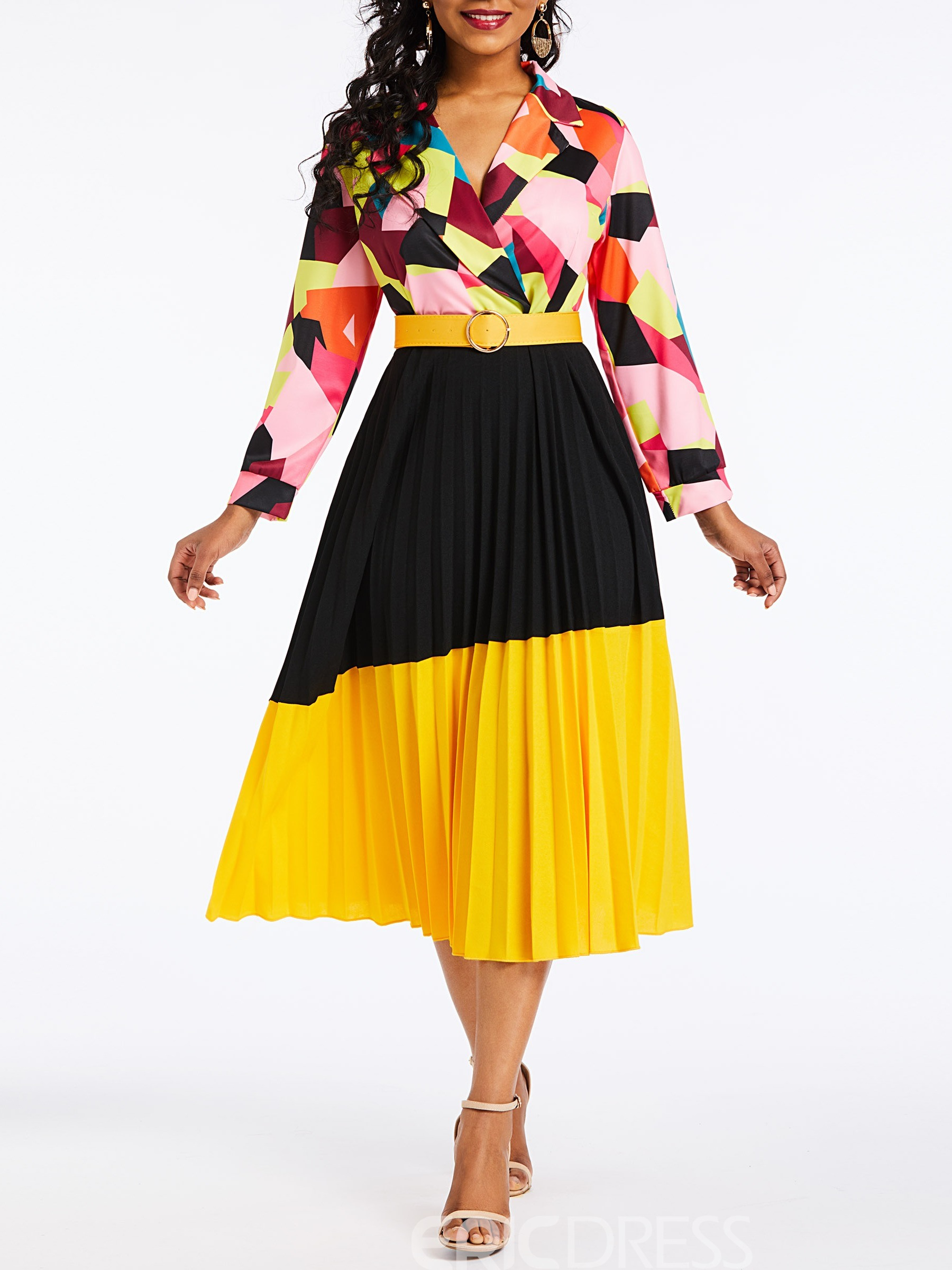 Ericdress Pleated Long Sleeve Ankle-Length Color Block Dress