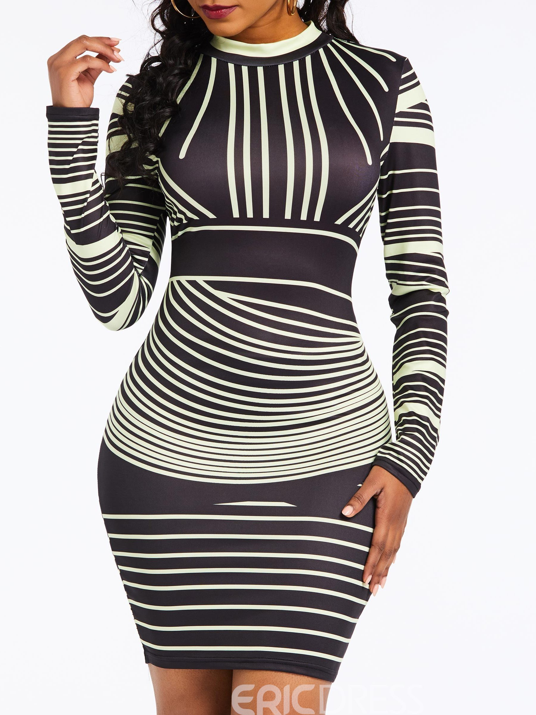 Ericdress Above Knee Long Sleeve Stripe Bodycon Dress