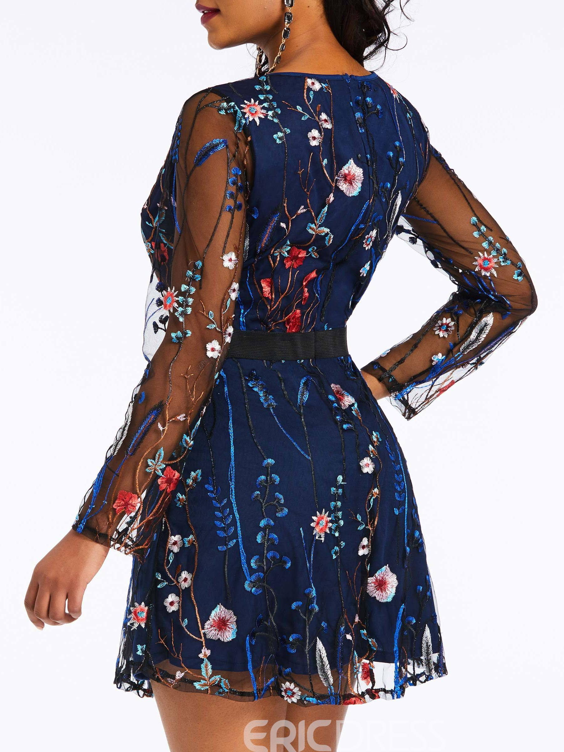 Ericdress Embroidery Above Knee Floral Date Night Dress
