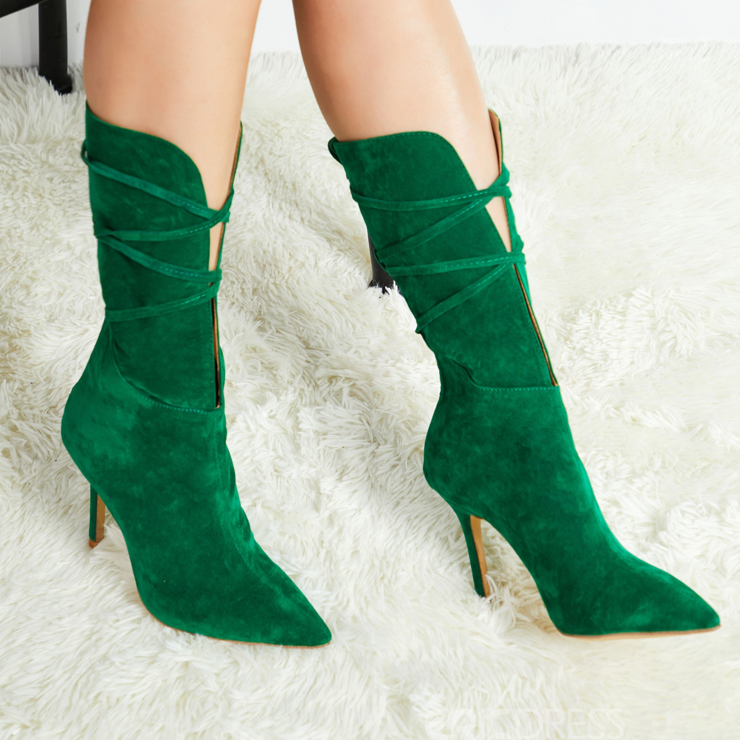 Ericdress Plain Lace-Up Front Pointed Toe Women's Ankle Boots