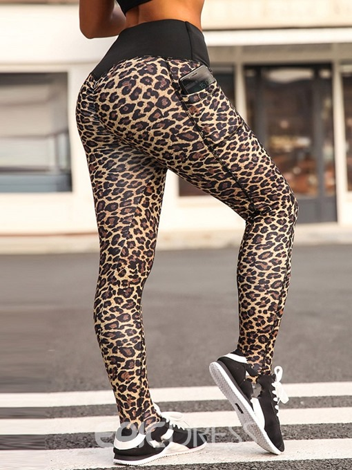 Ericdress Sports Leopard Pocket High-Waist Leggings