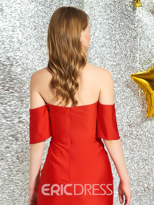 Ericdress Tea-Length Off-The-Shoulder Red Cocktail Dress