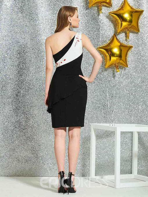 Ericdress Knee-Length One Shoulder Cocktail Dress 2019