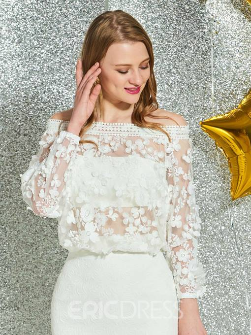 Ericdress Off-The-Shoulder Lace White Homecoming Dress
