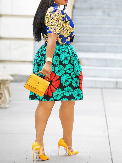 Ericdress African Fashion Knee-Length A Line Pleated Dress