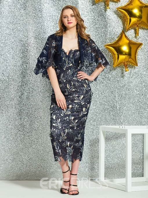 Ericdress Sweetheart Sheath Lace Half Sleeves Cocktail Dress 2019
