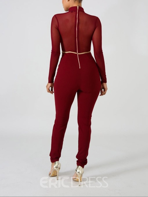 Ericdress Mesh Full Length Sexy Slim Pencil Pants Jumpsuit