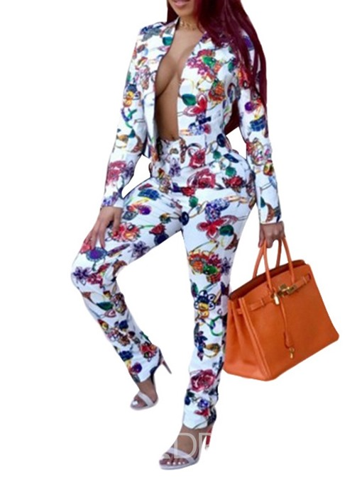 Ericdress Floral Casual Coat V-Neck Two Piece Sets