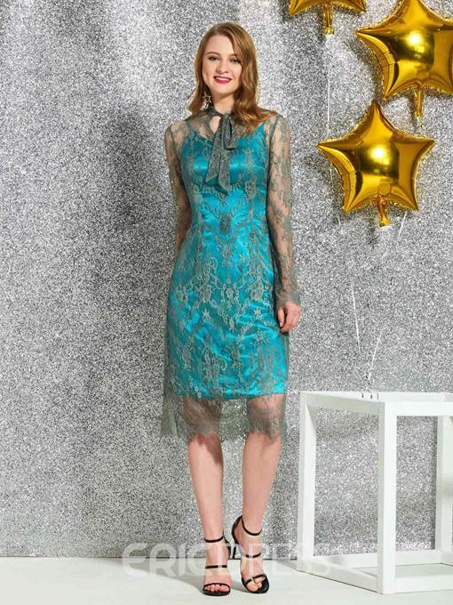 Ericdress Long Sleeves Lace Cocktail Dress 2019