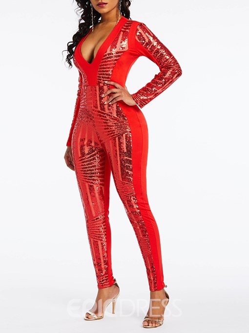 Ericdress Sequins Sexy Patchwork Party Slim Jumpsuit