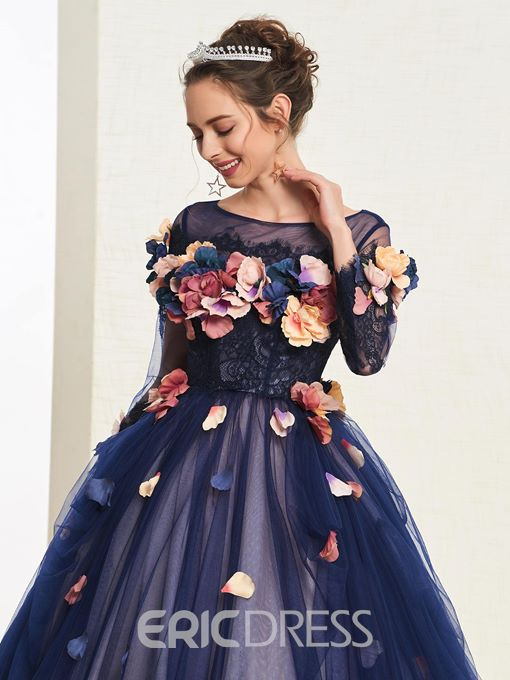Ericdress 3D Flowers Ball Gown Quinceanera Dress 2019