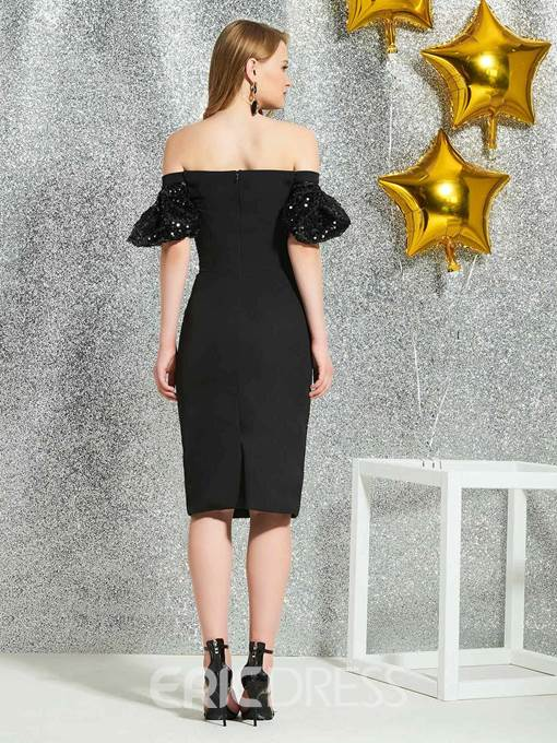Ericdress Sheath Off-The-Shoulder Black Cocktail Dress 2019