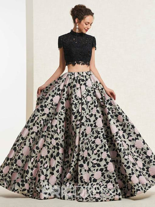 Ericdress Cap Sleeves A-Line High Neck Prom Dress 2019