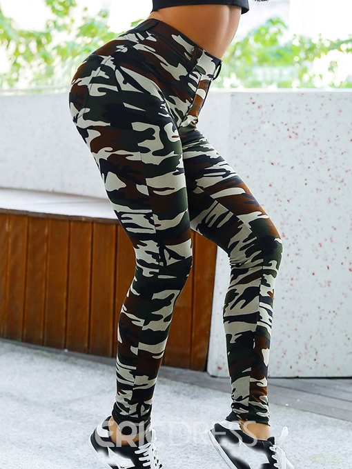 Ericdress Sports Camouflage Print High-Waist Leggings