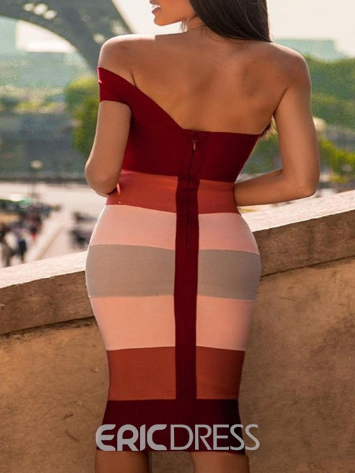 Ericdress Short Sleeve Color Block Stripe Bodycon Dress
